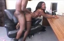 Sexy ebony secretary screwed deep and hard