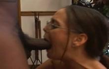 MILF with glasses loves big black cocks