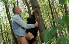 Brunette MILF fucked in the woods
