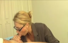 Slutty mom giving a blowjob